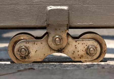 40182901 - steel automatic gate wheel closeup